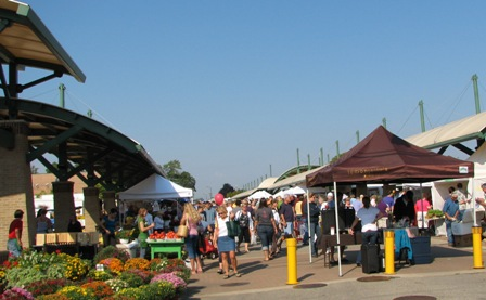 Holland Farmers' Market on 8th Street with permanent canopies