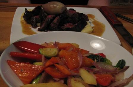 Grilled Hanger Steak and Seasonal Vegetables