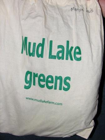 Mud Lake Farm lettuce delivered in an organic cotton bag