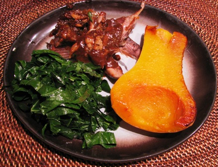 Pork shoulder with roasted butternut squash and collards