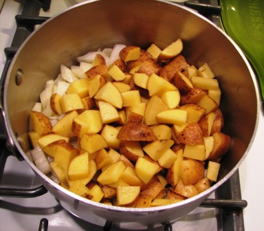 Saute potatoes and onion