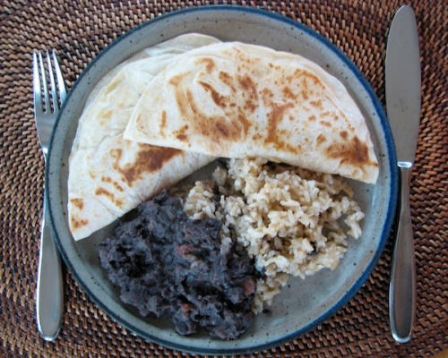 Refried Cuban Black Beans with Brown Rice and Quesadillas