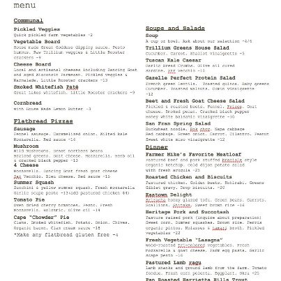 Trillium Haven restaurant dinner menu, July 2012