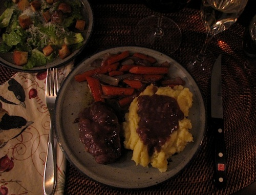Grassfed beef tenderloin recipe with mashed potatoes and braised carrots