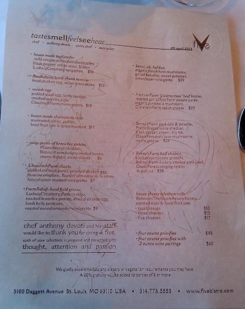 Five Bistro menu April 9, 2013