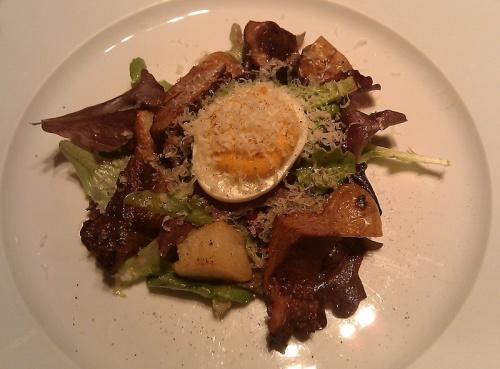 Farmers salad with local field greens and lamb pastrami