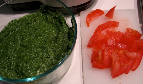 Spring Nettles Pesto and Greenhouse Tomato