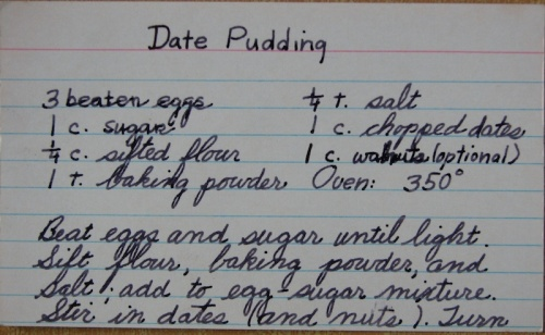 Date Pudding recipe